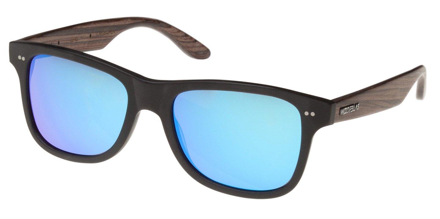 Lehel Sunglasses (wood-acetate) (black/mirr. blue)
