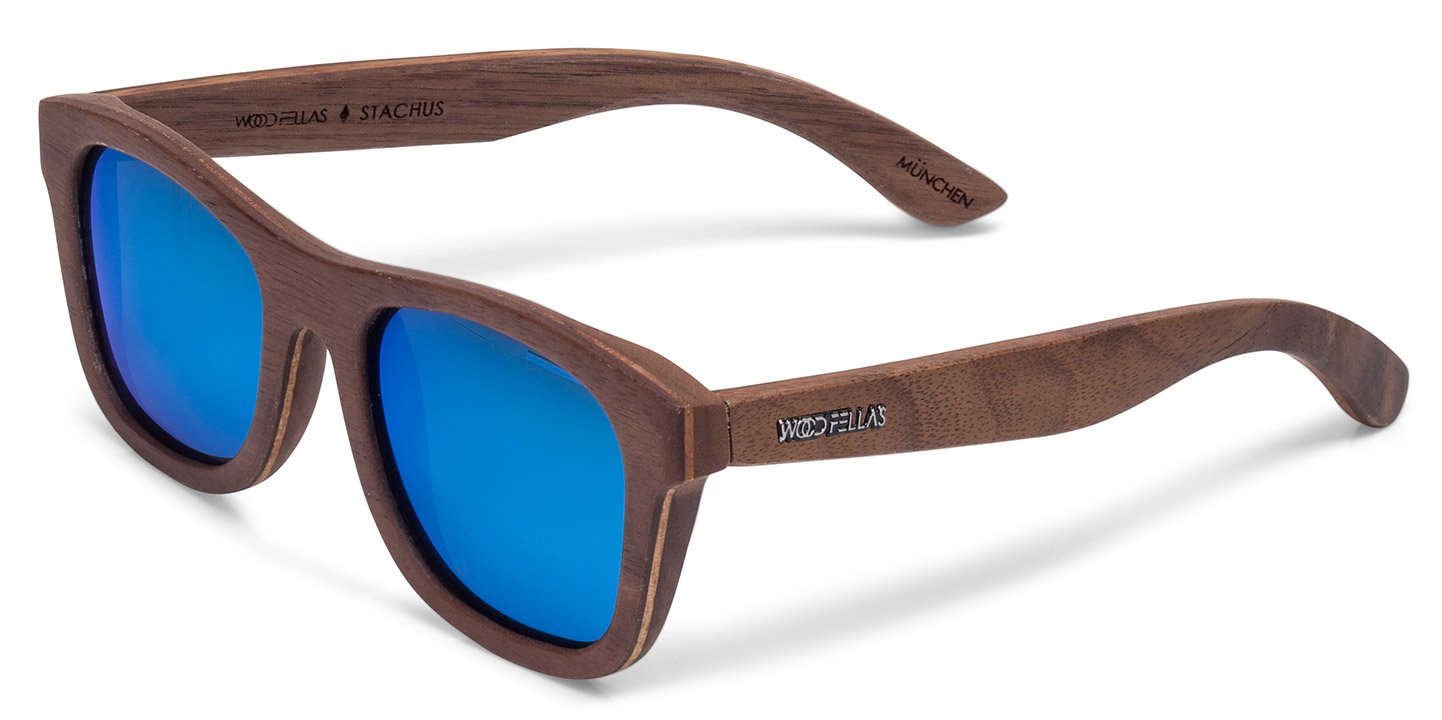 Stachus Sunglasses (wood) (walnut/blue)
