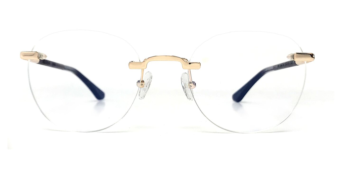 Rimless Titanium Optical Ammil (52-20-145) (curled/gold shiny)