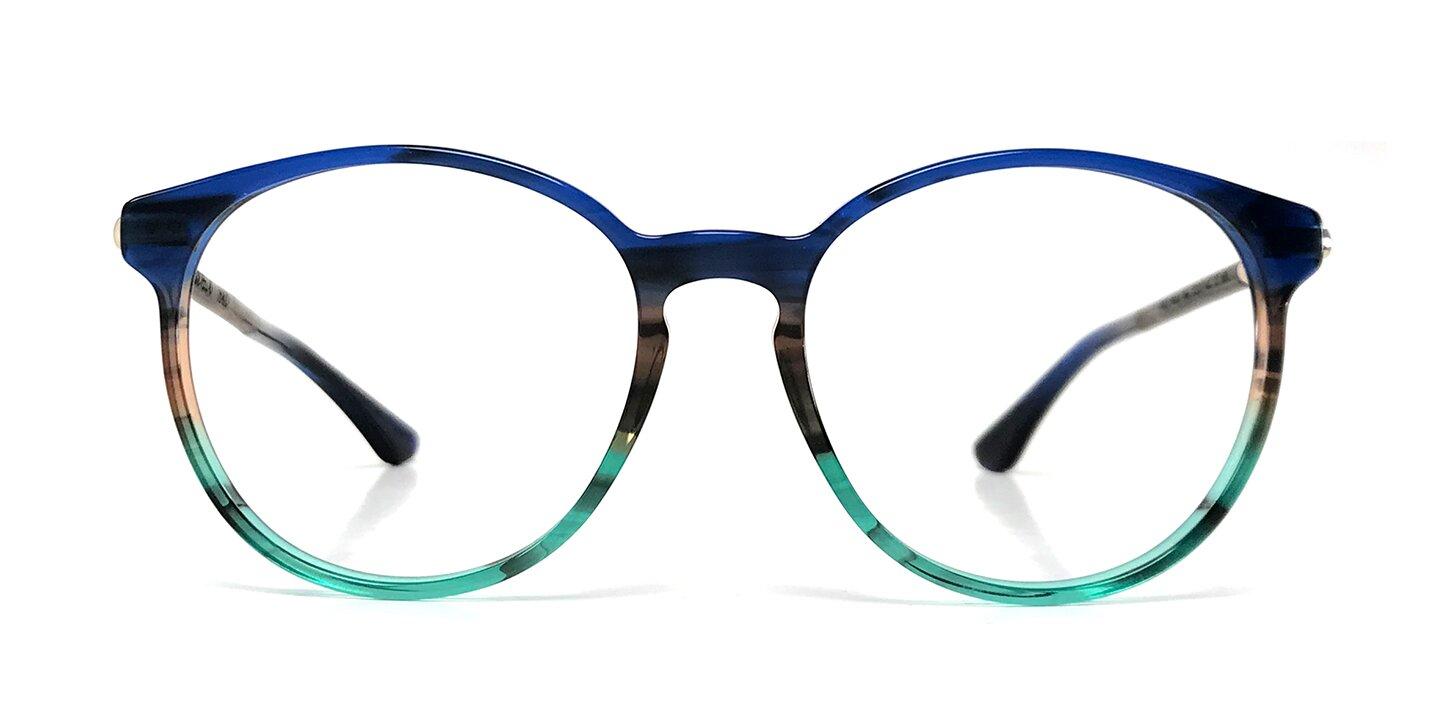 Wood/Acetate Optical Halo (52-18-140) (walnut/blue)